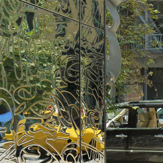 Entrance of 40 Bond Street in New York City, EXYD-N on Stainless Steel, Photo EXYD