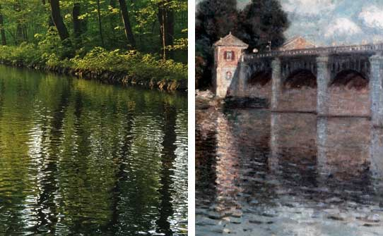 Left: Reflection of Slightly Rippled Water, Photo EXYD. Right: Detail of 'The Bridge at Argenteuil', Claude Monet, 1874 (c) Bildarchiv Foto Marburg.