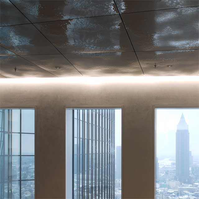 Germany, Frankfurt, Twin Towers, Client Deutsche Bank, Design Bellini, Ceiling Of The Top Five Stories of The North Tower, Ceiling System LINDNER, Ceiling Panels EXYD-F, Photo EXYD, 2011