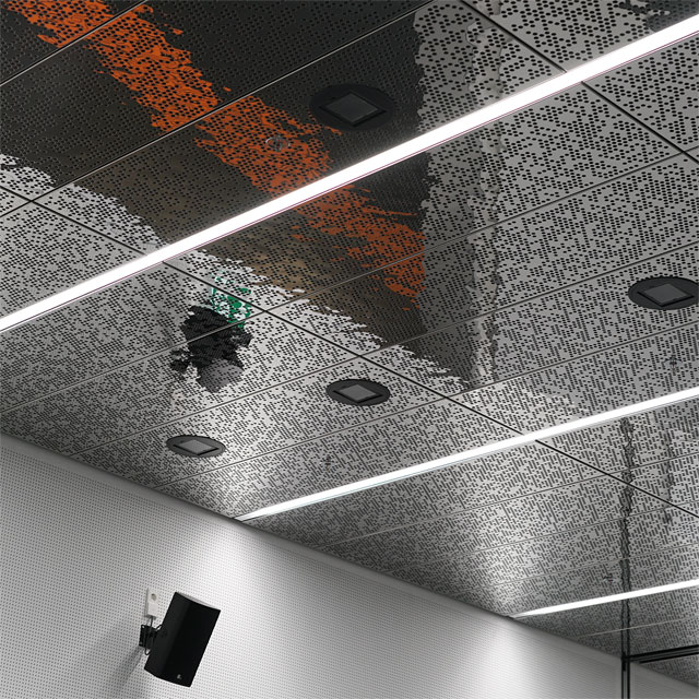 Germany, Sindelfingen, Daimler, Vehicle Safety Technology Center, Visitors Area, EXYD-M Ceiling Panels with Whole Patterns, Photo EXYD