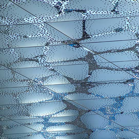 Stockholm, Waterfront Building, Reception Hall, Close-Up View of the Ceiling, Panels Type EXYD-F with Pattern Perforation, Photo EXYD