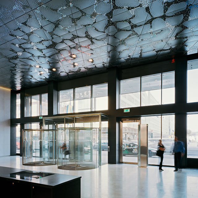 Stockholm, Waterfront Building, Reception Hall, Reception Hall, Grid Ceiling, Panels Type EXYD-F with Pattern Perforation, Photo Michael Perlmutter