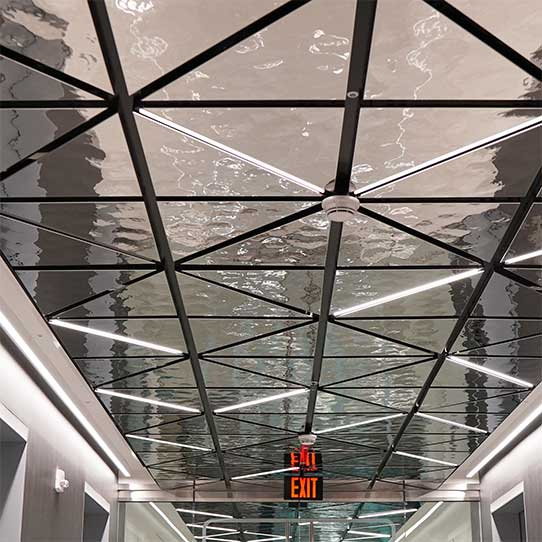 Suspended Ceiling with Spring Technology, Ceiling System LINDNER USA, Ceiling Cassettes EXYD-M, Project in White Plains (NY, USA), Photo EXYD