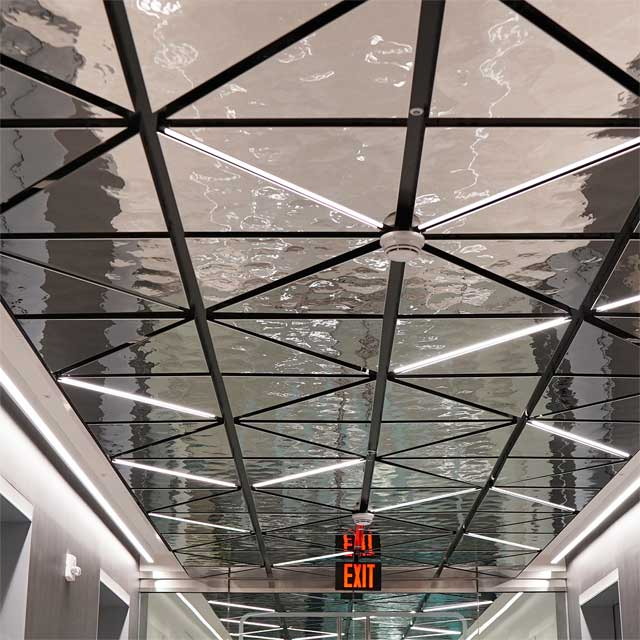 USA, NY, White Plains, Office Building, Elevator Lobby, Ceiling System LINDNER, Ceiling Panels EXYD-M, Photo EXYD